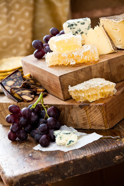 Artisan cheese board with honeycomb