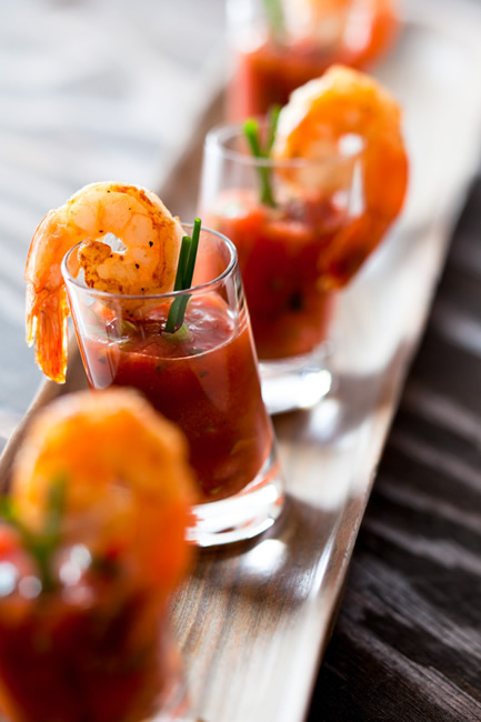 Bloody Mary shooter with grilled shrimp