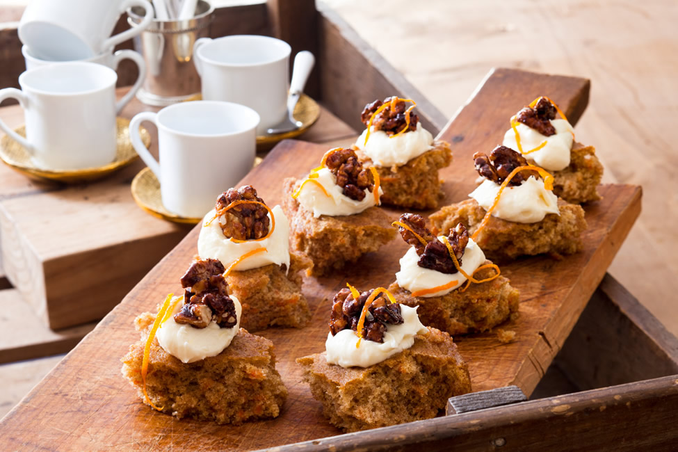 Carrot cake with lemon cream cheese frosting and candied walnut